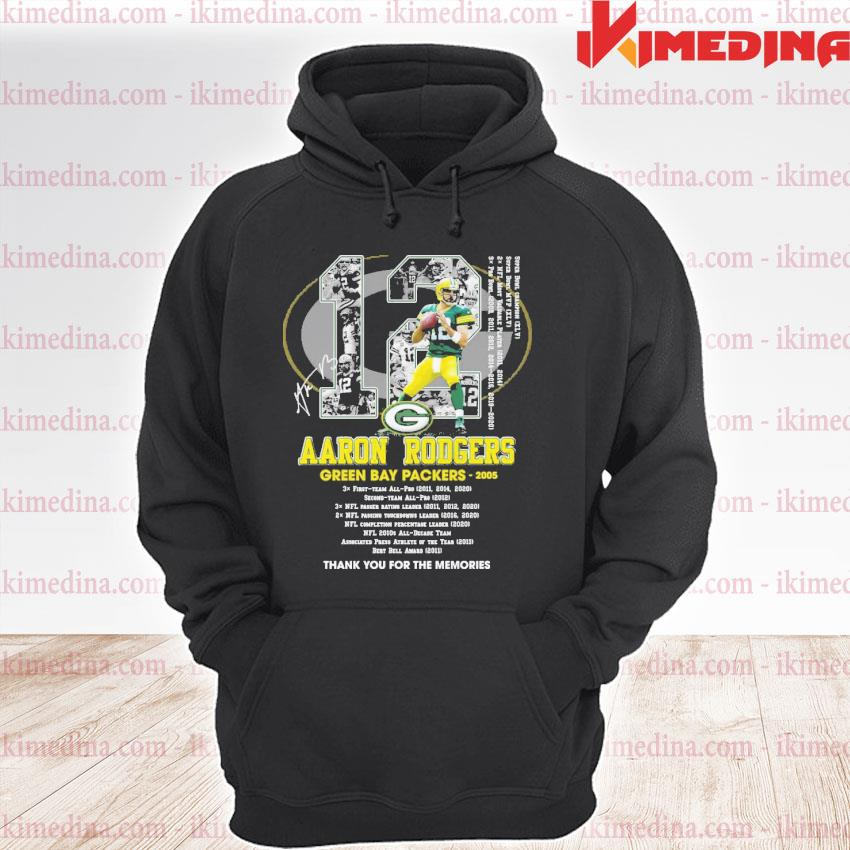Official 12 aaron rodgers green bay packers thank you for the memories premium hoodie
