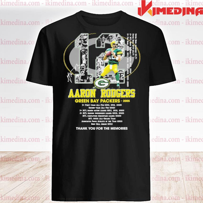 Official 12 aaron rodgers green bay packers thank you for the memories shirt