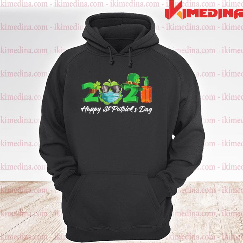 Official 2021 shamrock face mask happy st patrick's day premium hoodie