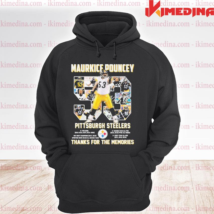 Official 53 maurkice pouncey pittsburgh steelers thanks for the memories premium hoodie