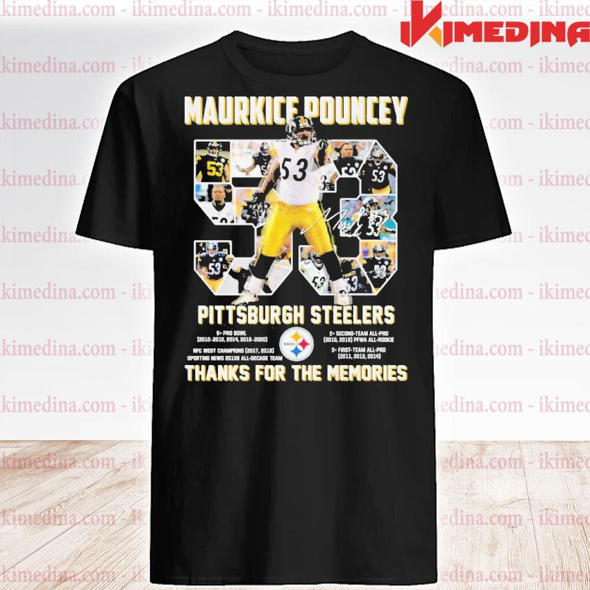 Official 53 maurkice pouncey pittsburgh steelers thanks for the memories shirt