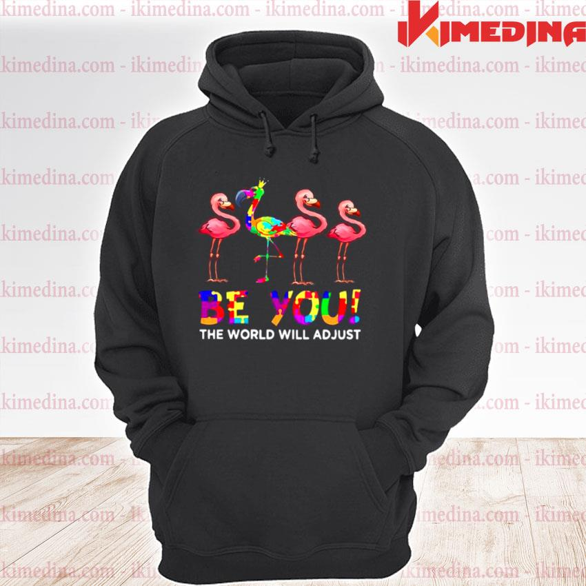 Official flamingo be you the world will adjust premium hoodie