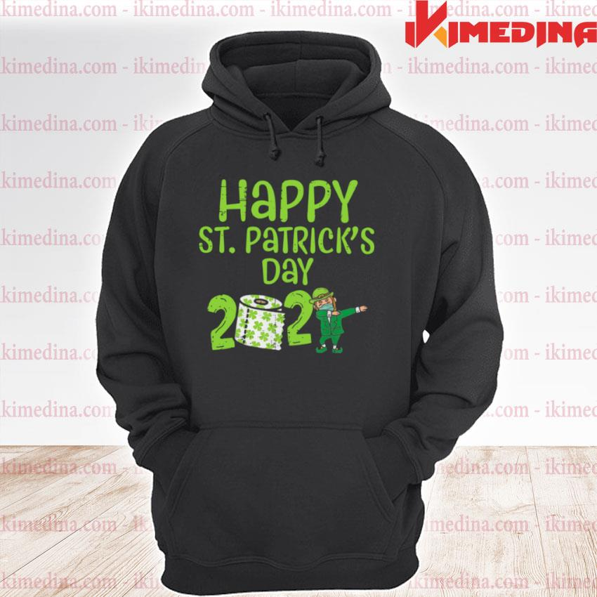 Official happy st patrick's day 2021 toilet paper with elf face mask dabbing premium hoodie