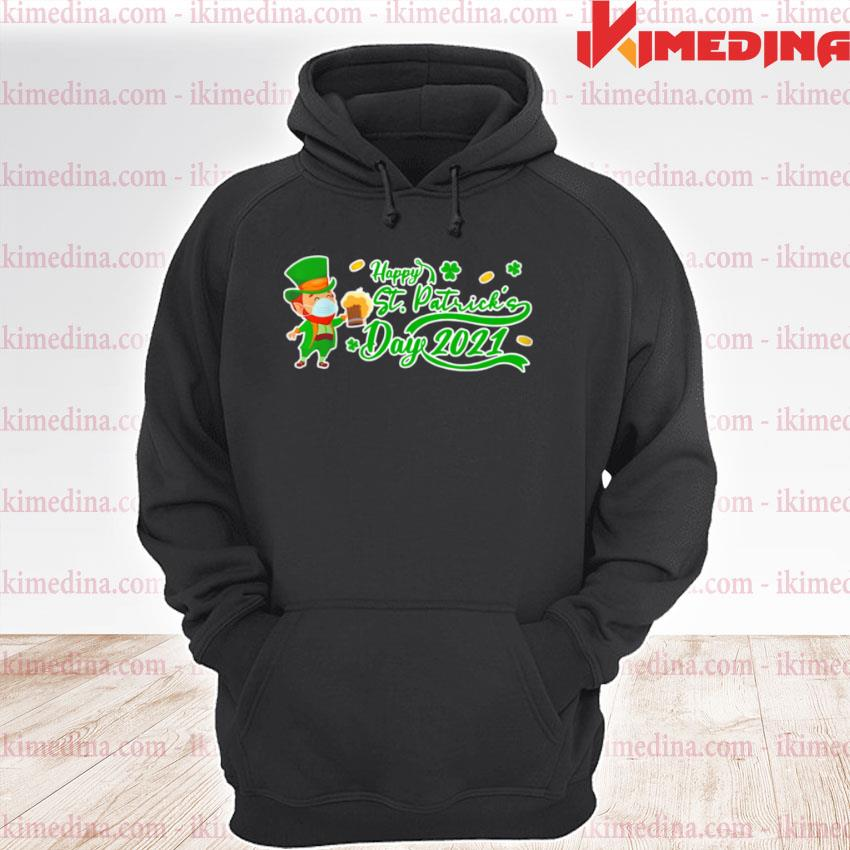 Official irish man face mask drink beer happy st patrick's day 2021 premium hoodie