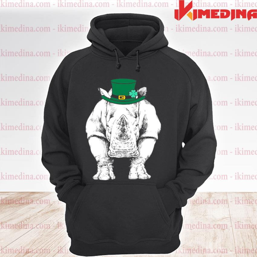 Official rhino st. Patrick's Day Safari Animal Lover premium hoodie