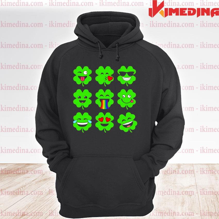 Official shamrock emoji funny st patrick's day premium hoodie