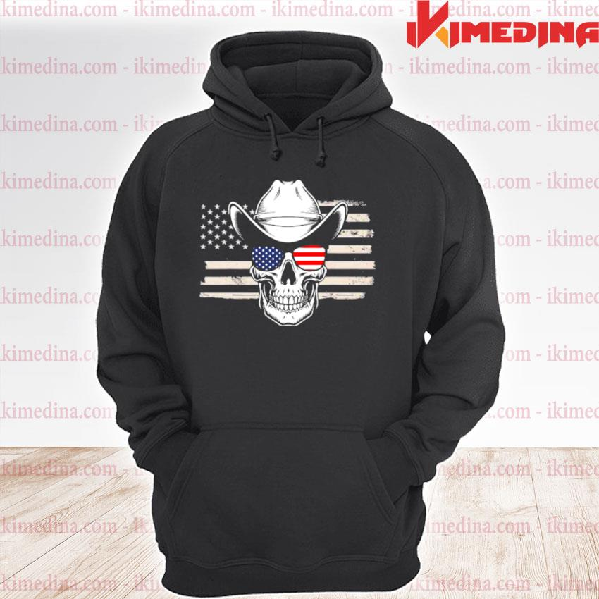 Official skull with sunglasses and cowboy hat in front of us flag premium hoodie