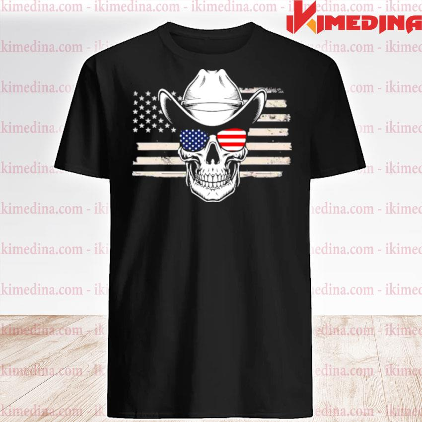 Official skull with sunglasses and cowboy hat in front of us flag shirt