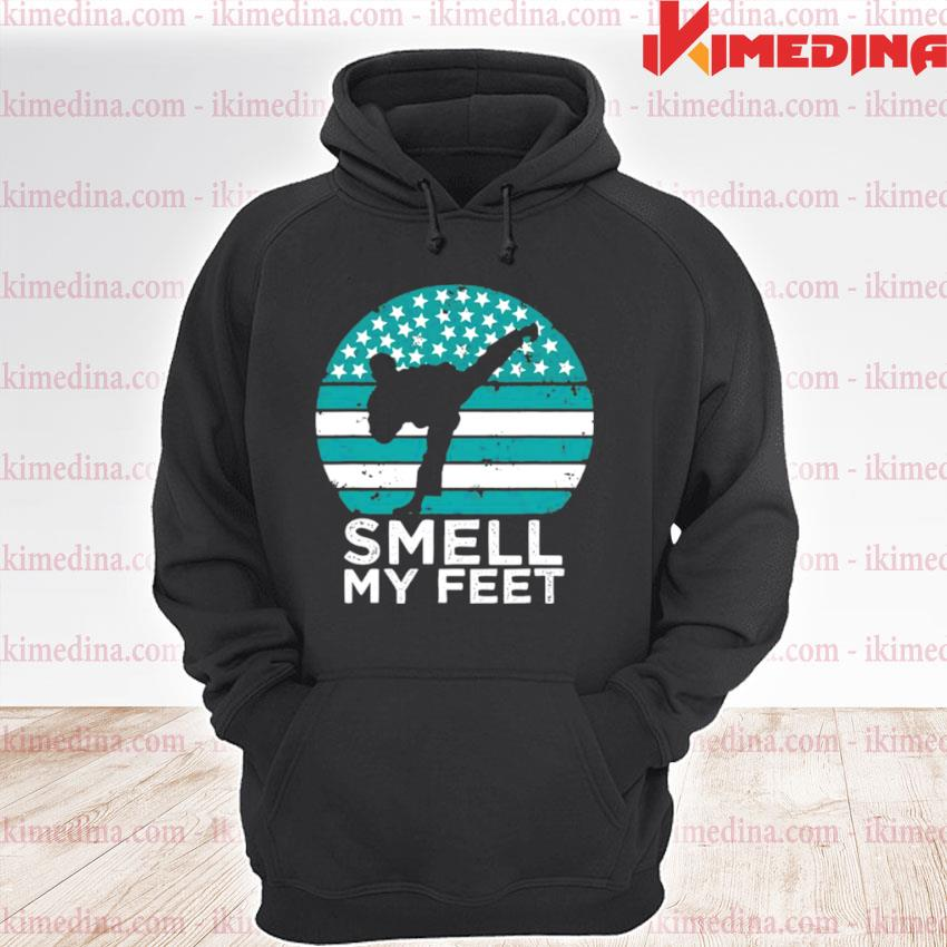 Official smell my feet funny karate premium hoodie