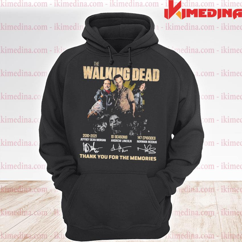 The walking dead 2010-2021 10 seasons 147 episodes signatures thank you for the memories s premium hoodie