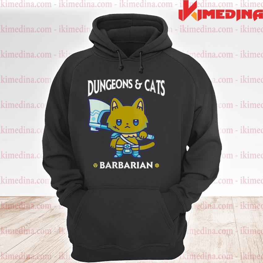Dungeons and Cats Barbarian RPG D20 Dice Fantasy Gamer Cat premium hoodie
