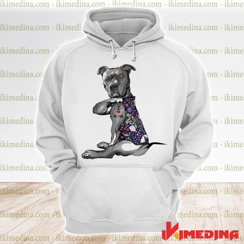 Flower pitbull I love mom pitbull tattoo mothers day premium hoodie