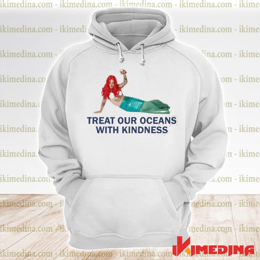 Harry styles mermaid treat our oceans with kindness premium hoodie