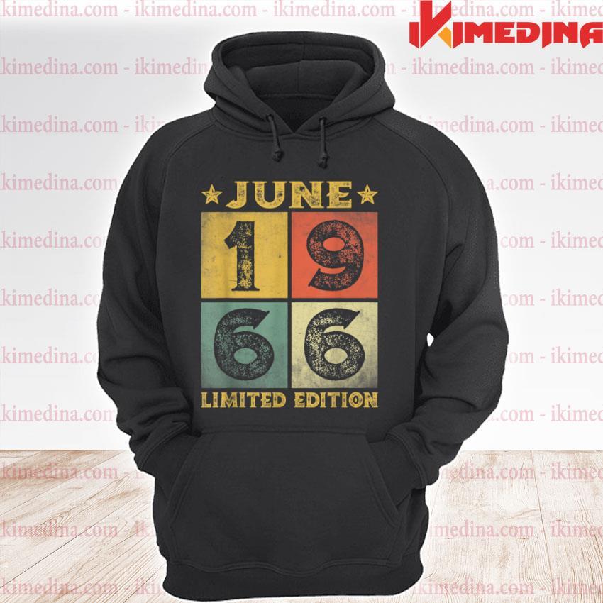 55th Birthday Distressed June 1966 Men Women 55 Years Old Shirt premium hoodie