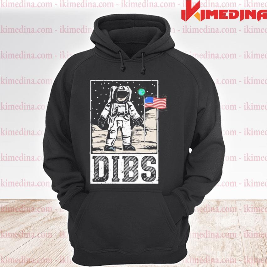 Dibs astronaut moon landing funny patriotic usa flag premium hoodie