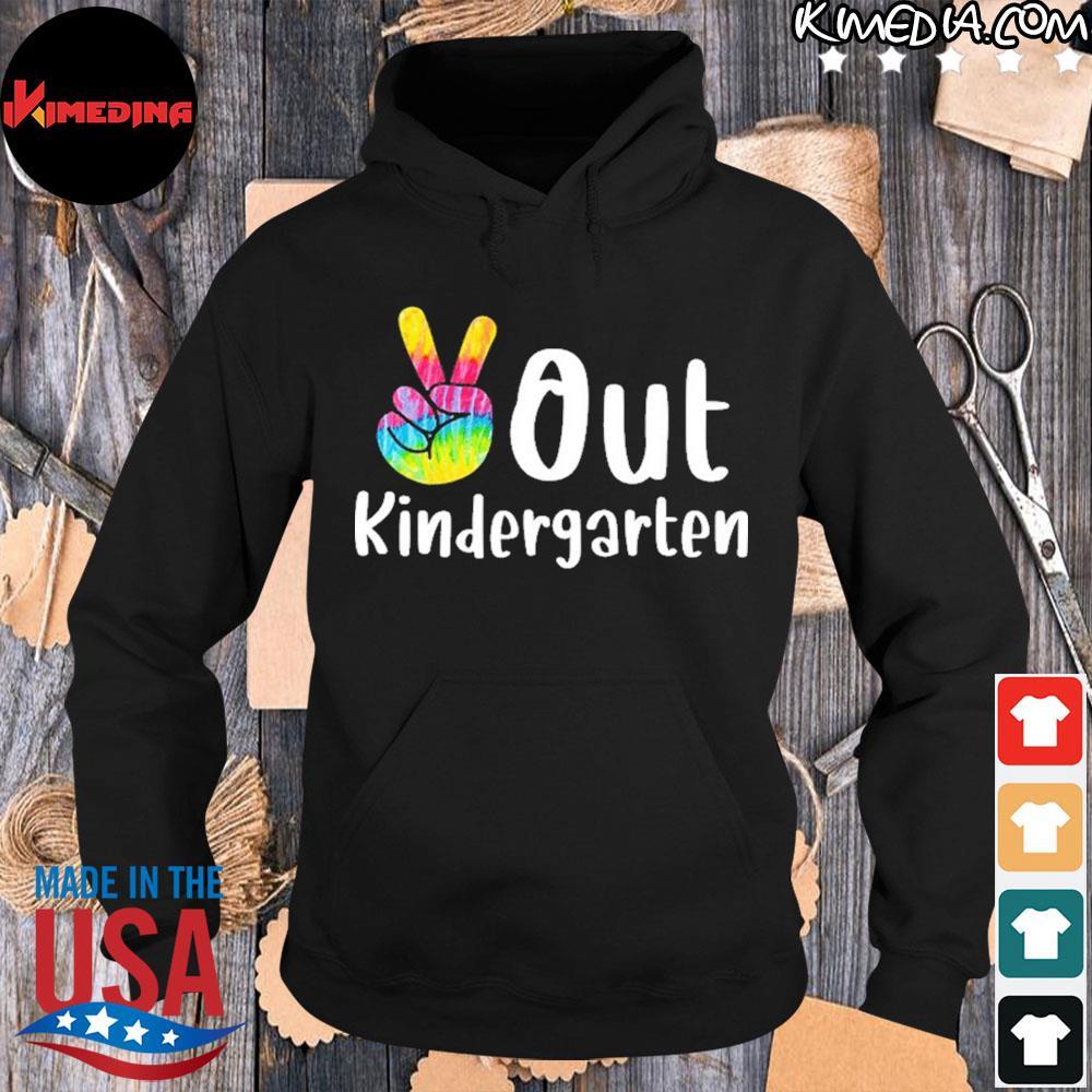Peace Out Kindergarten Tie Dye Graduation Class Of 2021 Shirt hoodie-black