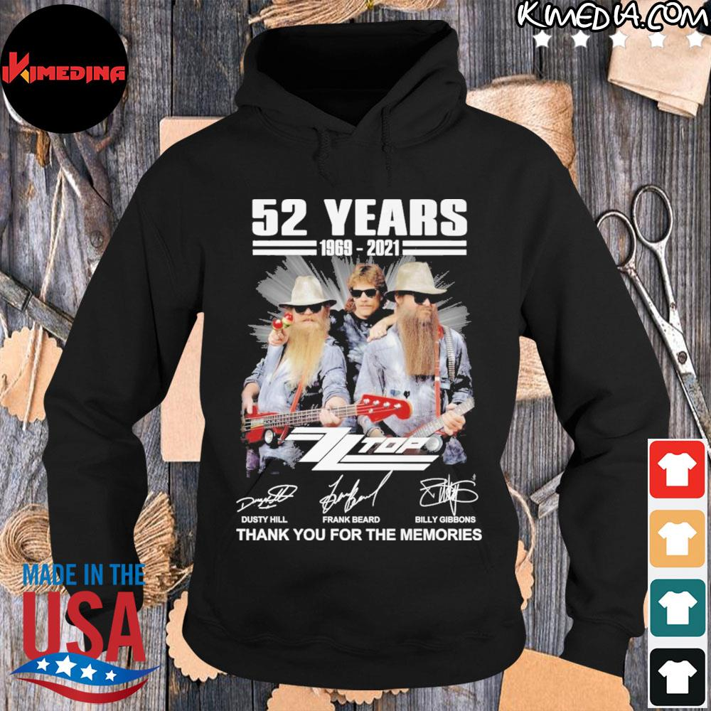 52 years 1969 2021 dusty hill and frank beard billy gibbons thank you for the memories s hoodie-black