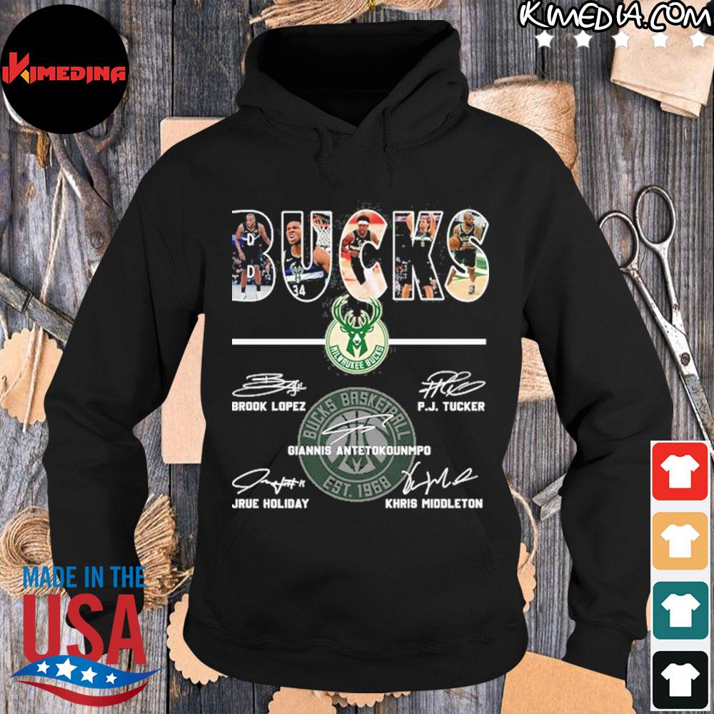 Bucks basketball brook lopez and p.j. tucker and giannis antetokounmpo and jrue holiday and khris middleton s hoodie-black