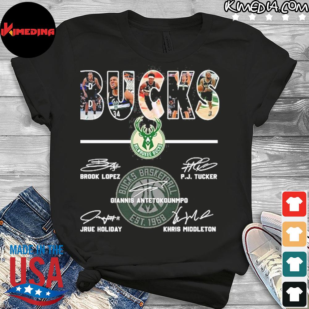 Bucks basketball brook lopez and p.j. tucker and giannis antetokounmpo and jrue holiday and khris middleton shirt