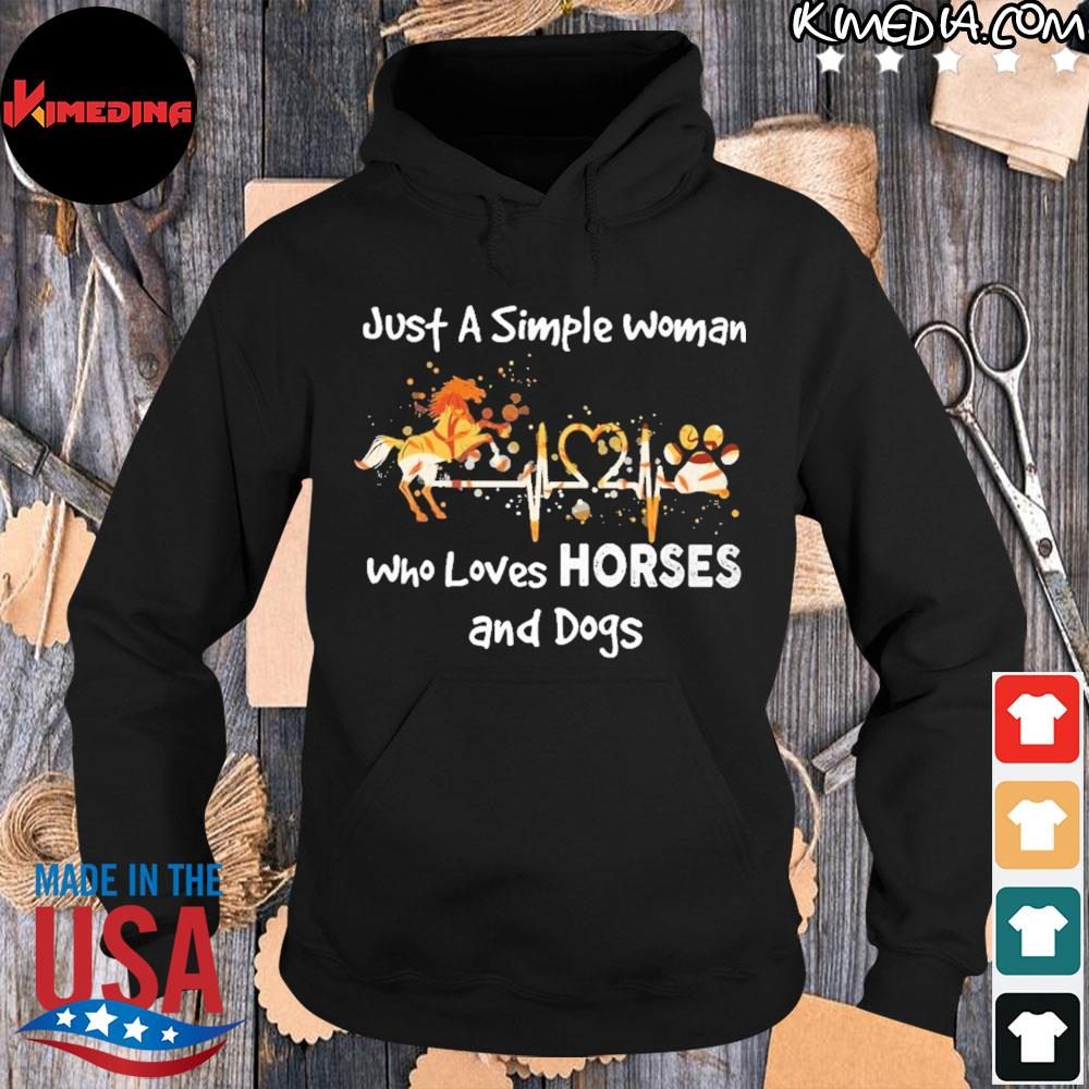 Horse just a simple woman who loves horses and dogs s hoodie-black
