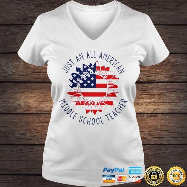 Just an all American Middle School Teacher shirt Ladies V-Neck
