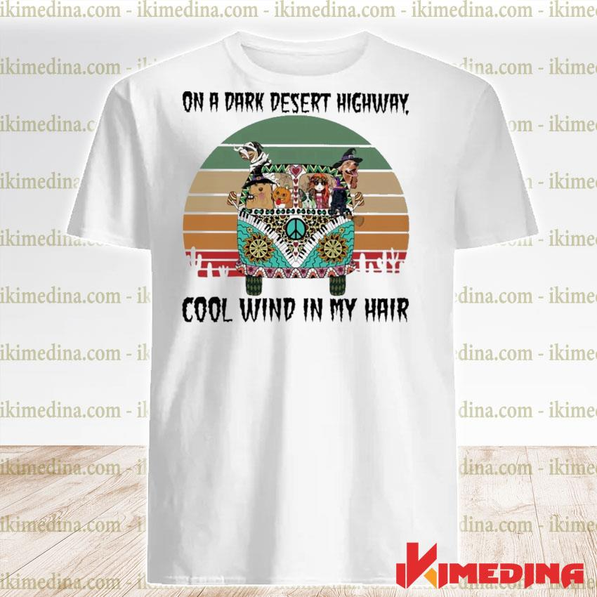 Official Hippie girl and Dogs on a desert highway cool wind In my hair vintage shirt