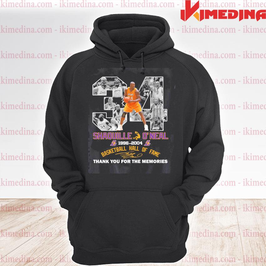 34 Shaquille O'neal Basketball hall of fame signature thank you for the memories s premium hoodie