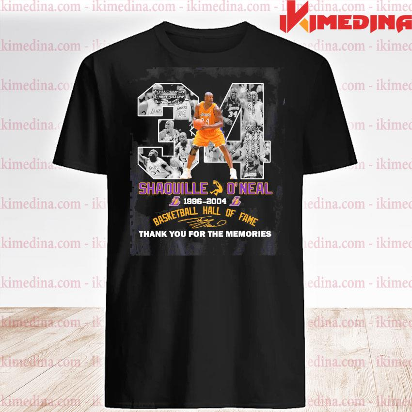 34 Shaquille O'neal Basketball hall of fame signature thank you for the memories shirt