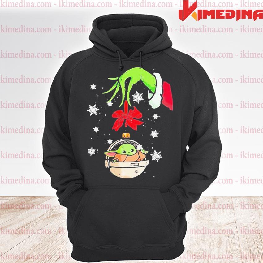 Grinch hand holding ornament baby yoda merry christmas s premium hoodie