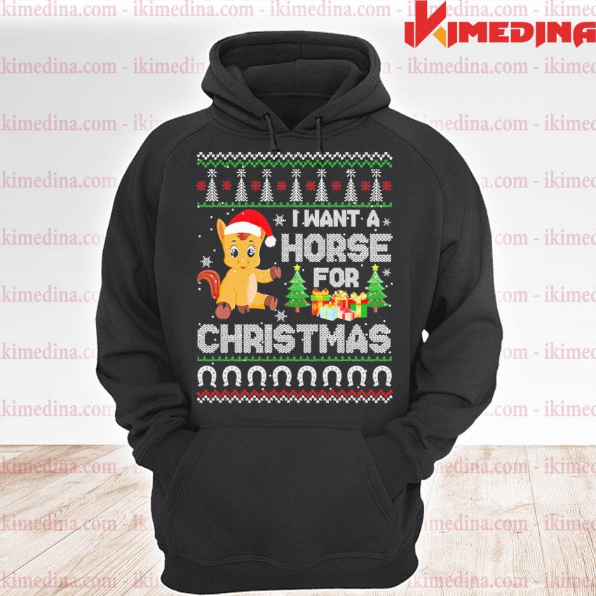 I want a Horse for ugly Christmas sweats premium hoodie