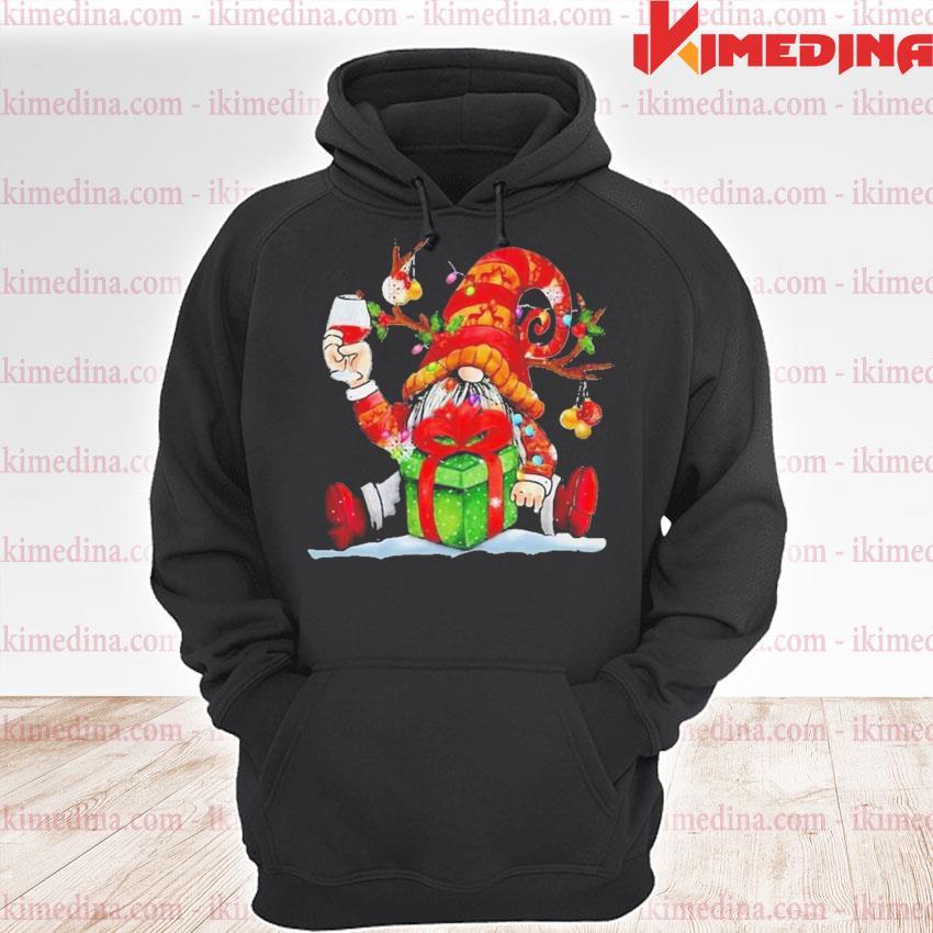 Santa reindeer gnome drinking wine christmas s premium hoodie