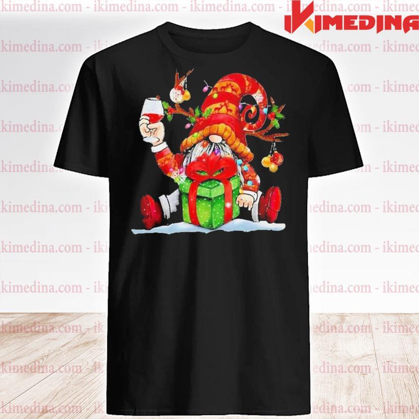 Santa reindeer gnome drinking wine christmas shirt