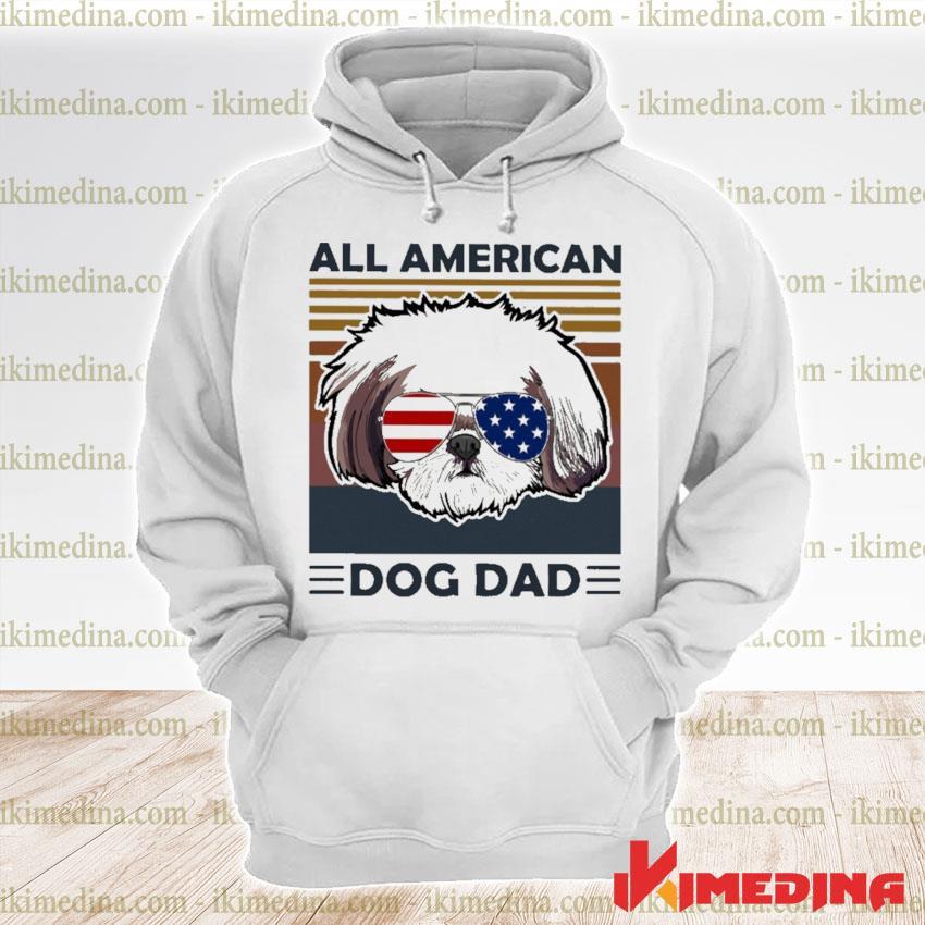 Shih Tzu all American dog dad vintage s premium hoodie