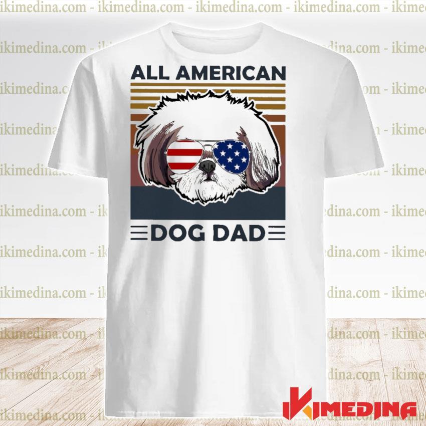 Shih Tzu all American dog dad vintage shirt