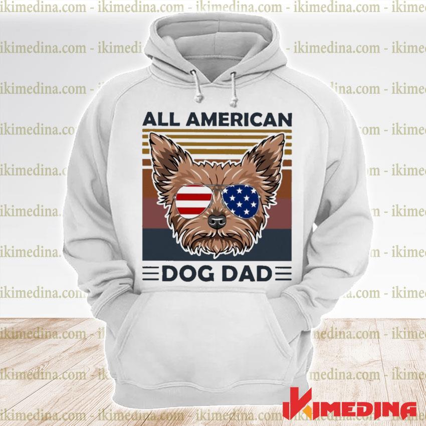 Yorkie all American dog dad vintage s premium hoodie
