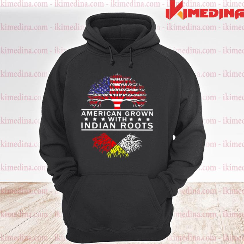 Official american grown with indian roods the tree american flag s premium hoodie