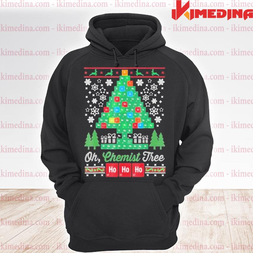 Official chemical molecular table tree pine ugly merry christmas sweater premium hoodie