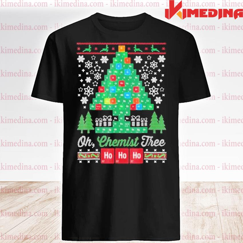Official chemical molecular table tree pine ugly merry christmas sweater