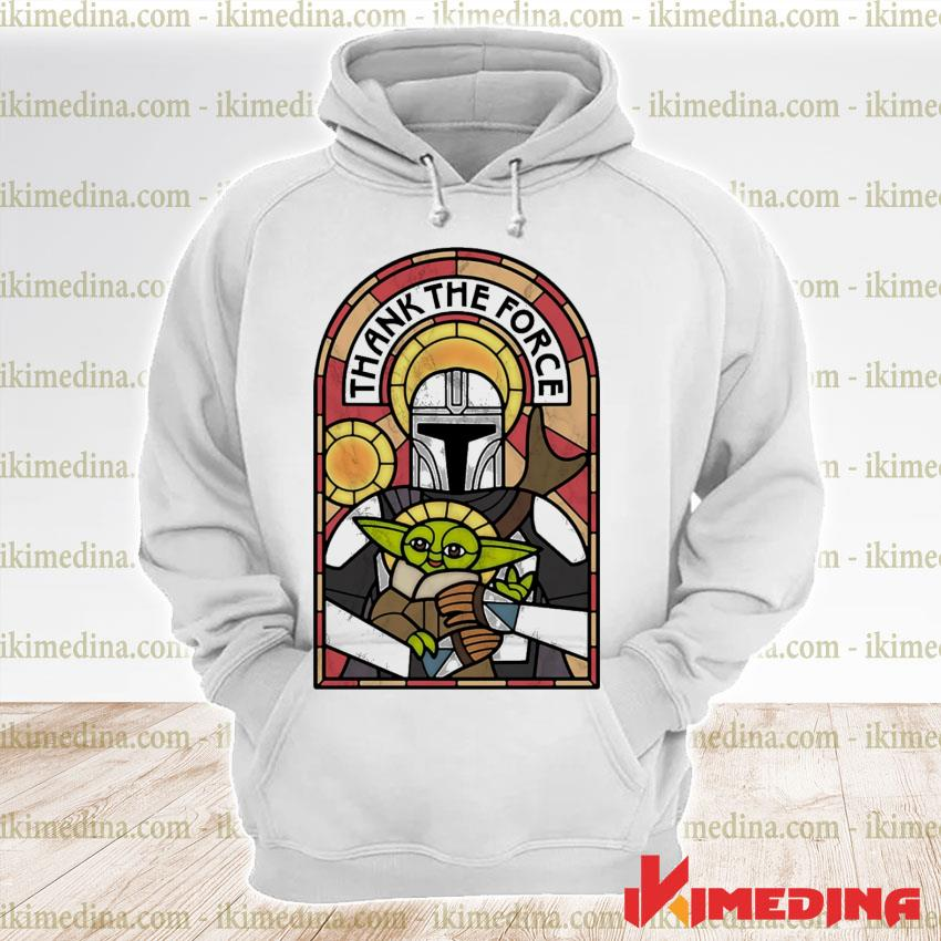 Official the mandalorian and baby yoda thank the force s premium hoodie
