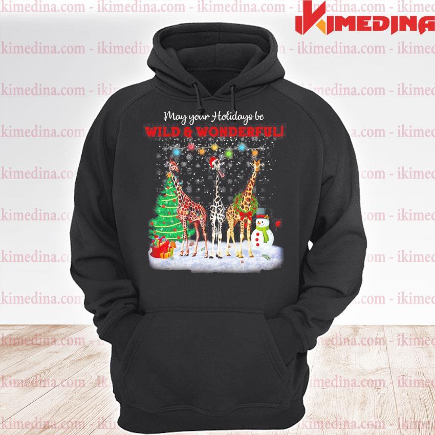 Premium giraffe may your holidays be wild and wonderful merry christmas sweats premium hoodie