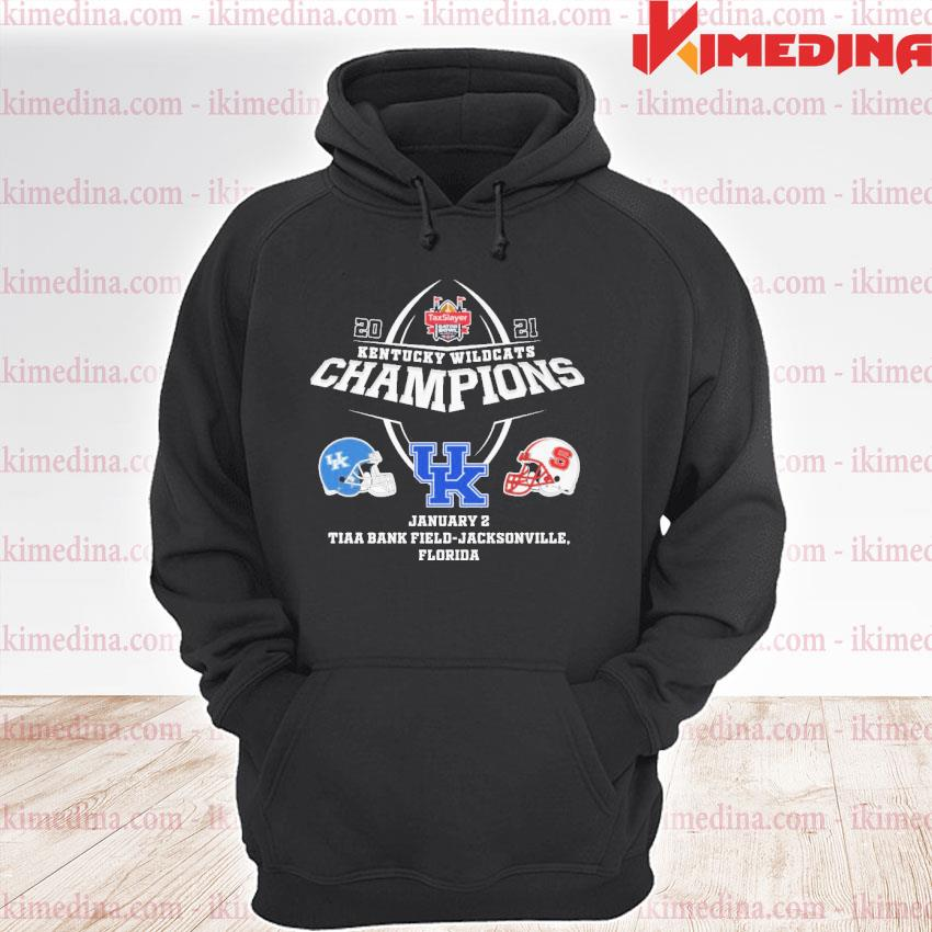 Official 2021 kentucky wildcats champions uk january 2 tiaa bank field jacksonville florida s premium hoodie