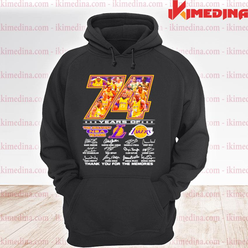 Official 74 years of the greatest nba team los angeles lakers signature s premium hoodie