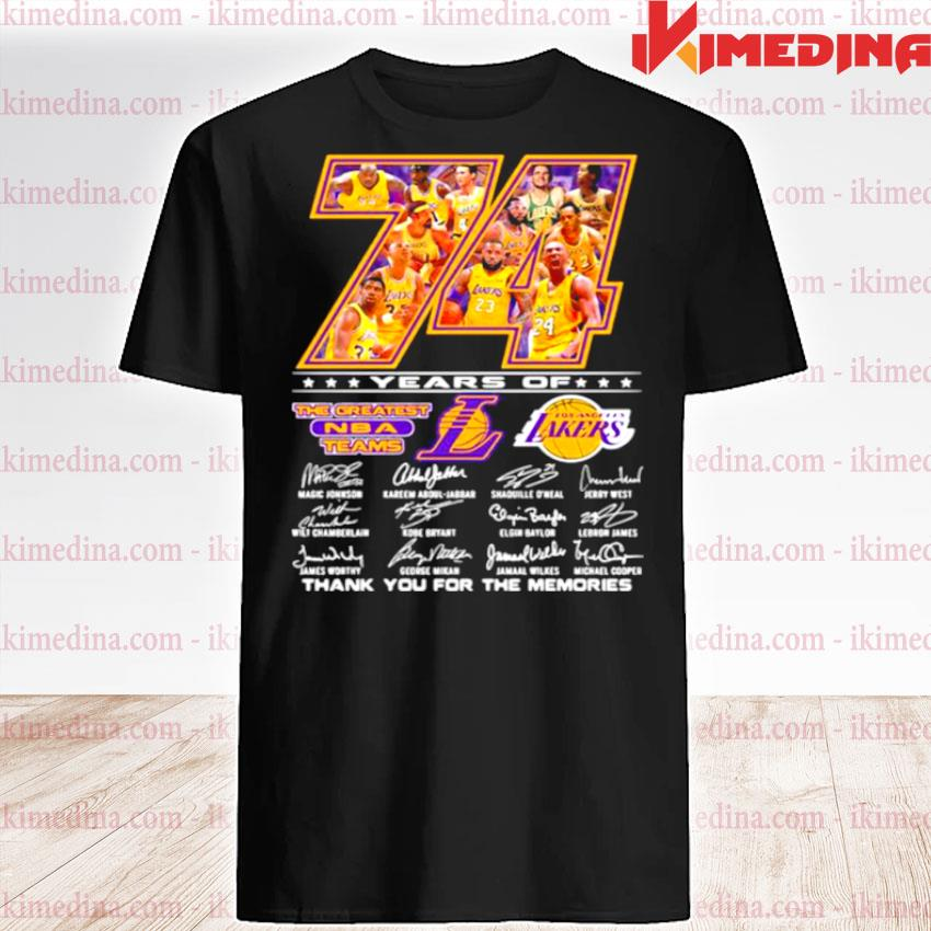Official 74 years of the greatest nba team los angeles lakers signature shirt