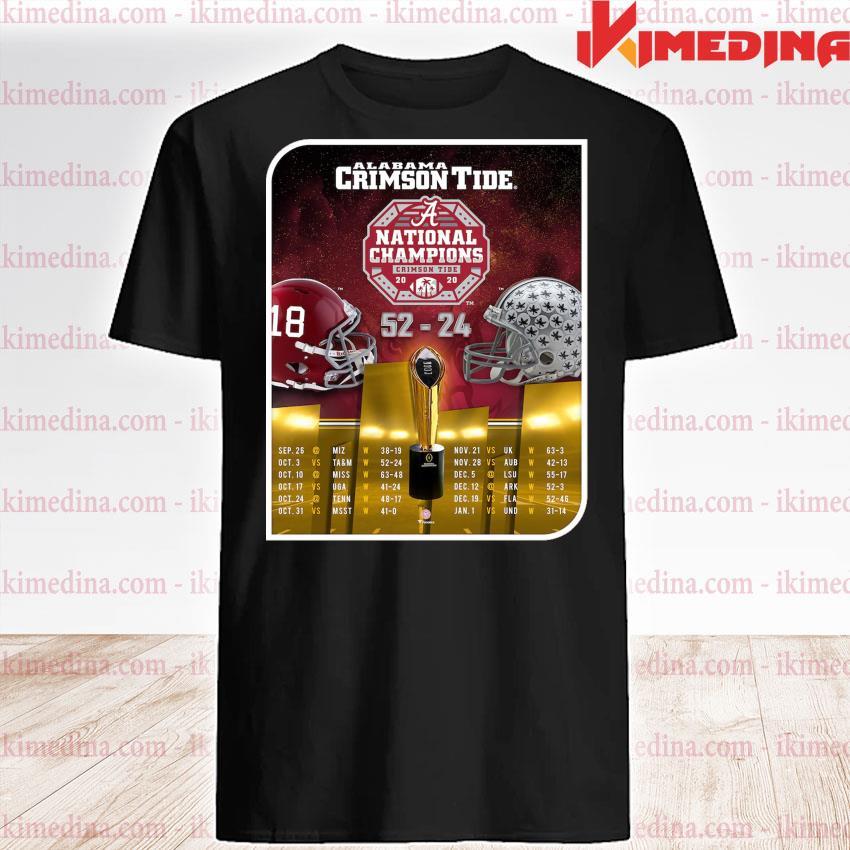 Official alabama crimson tide national champions 2020 52-24 shirt