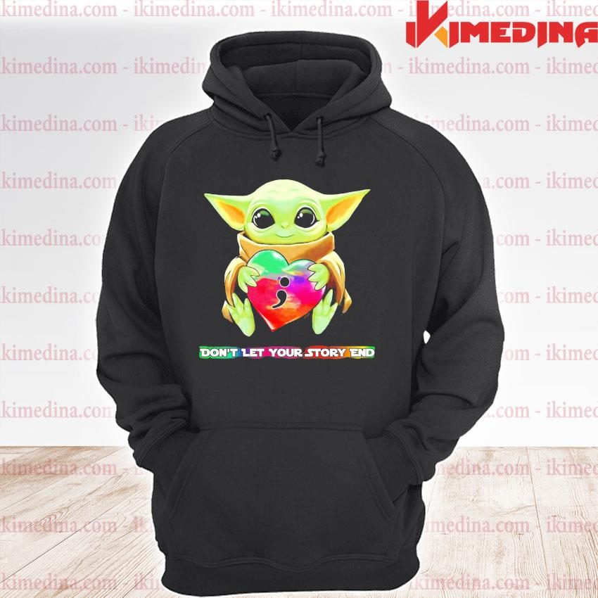Official baby yoda hug heart don't let your story end s premium hoodie