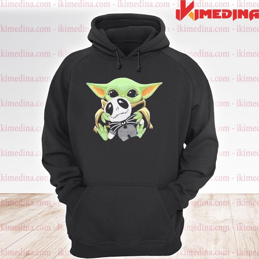 Official baby yoda hug jack skellington s premium hoodie