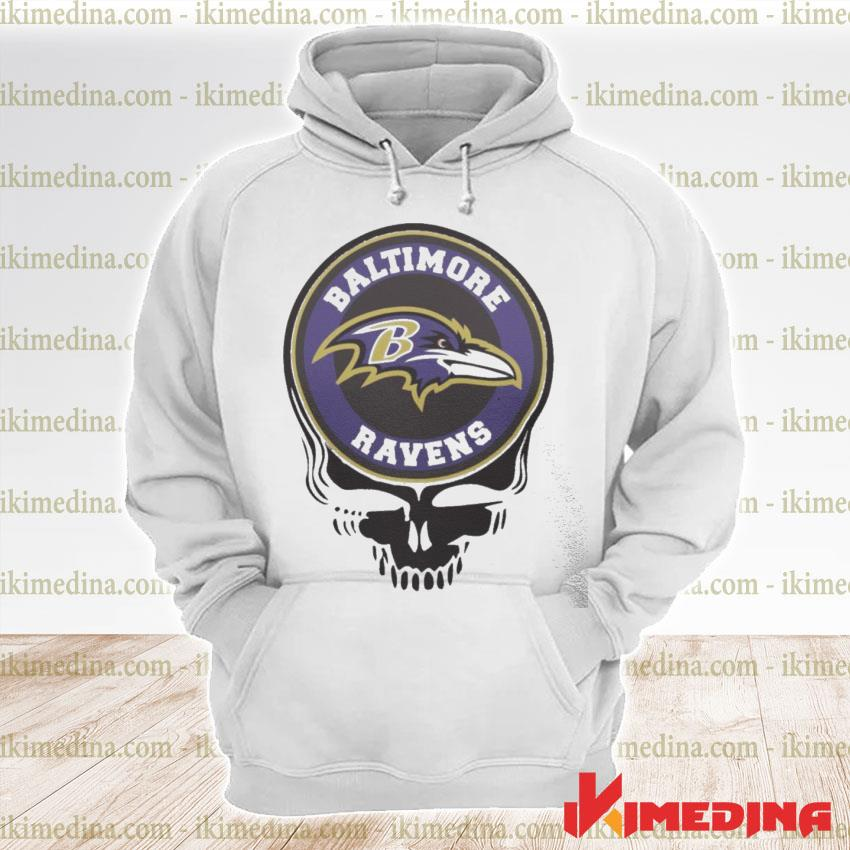 Official baltimore ravens football skull s premium hoodie
