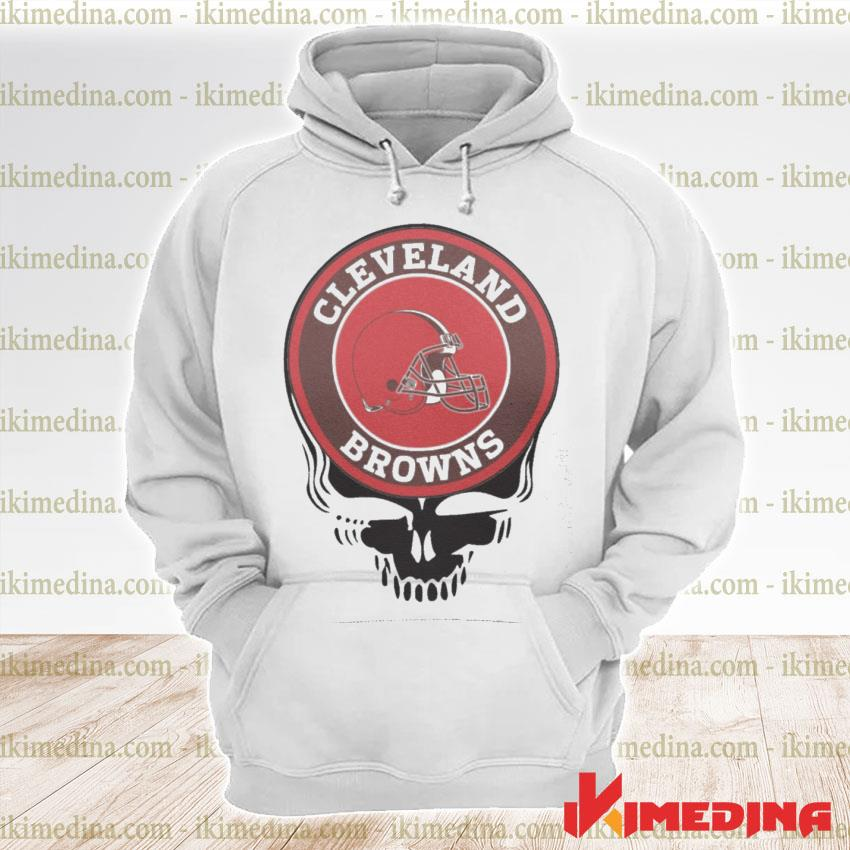 Official cleveland browns football skull s premium hoodie