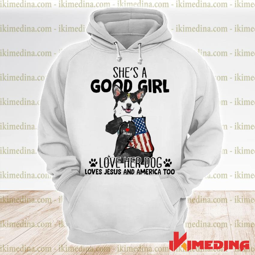 Official corgi strong girl she's a good girl love her dog loves jesus and american flag s premium hoodie