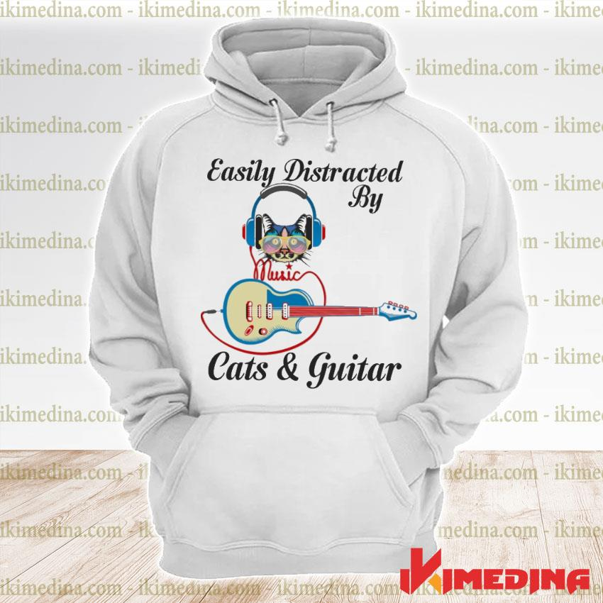 Official easily distracted by cats and guitar s premium hoodie
